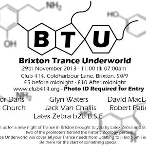 Matt Church at Brixton Trance Underground, Club 414, 29th November 2013