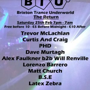 Matt Church at Brixton Trance Underworld - The Return, Club 414 (Flyer Front)