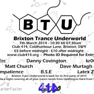 Matt Church at Brixton Trance Underground, Club 414 (Flyer Front)