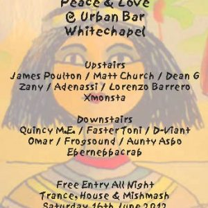 Matt Church at Peace & Love, Urban Bar (Flyer Front)